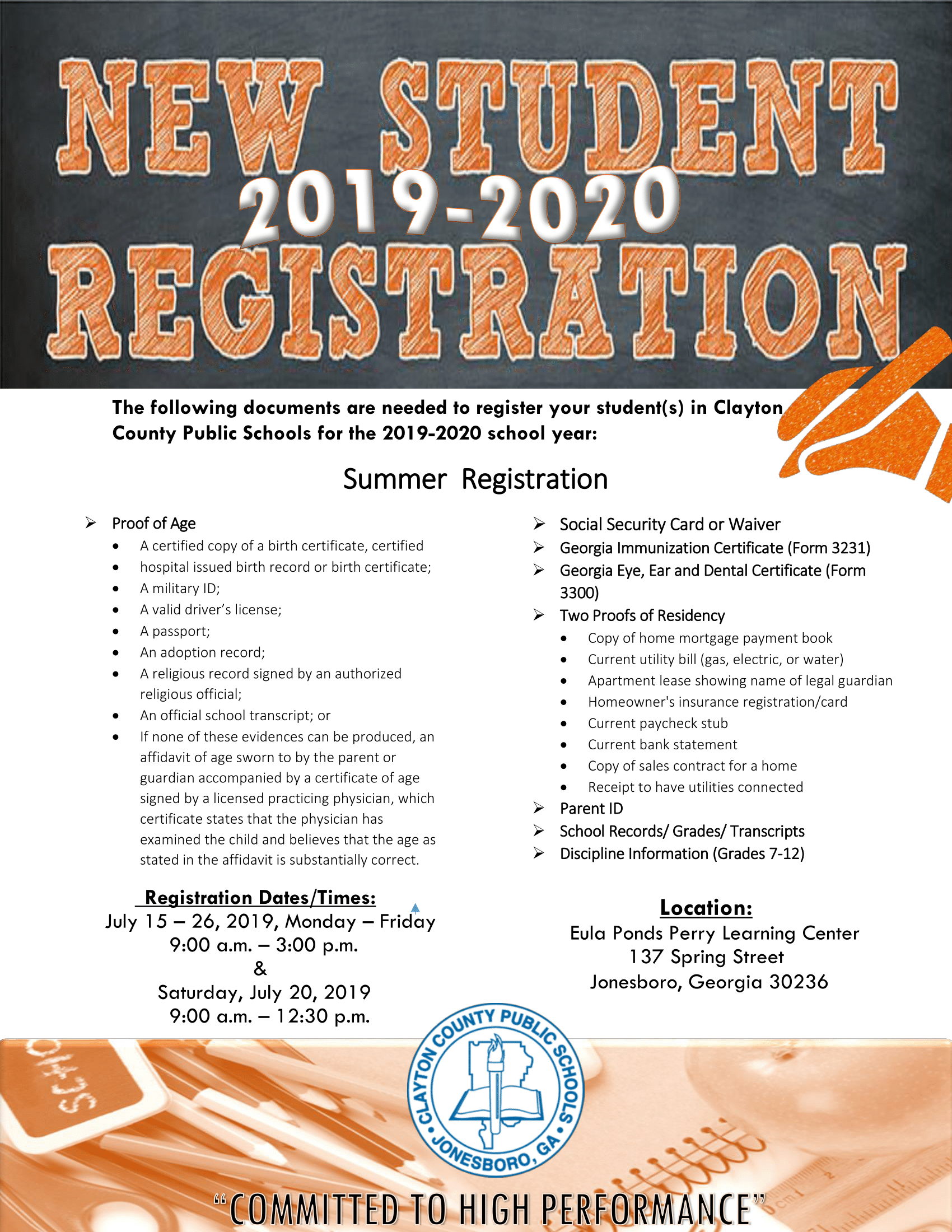 Perry Learning Center New Student Registration